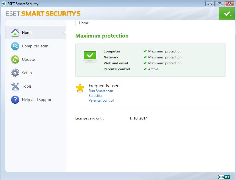 Eset Smart Security interface