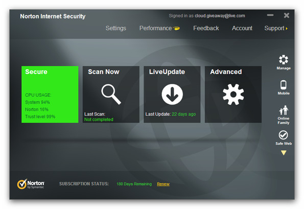 Norton Internet Security interface system